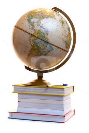 Model of the Globe stock photo, A model of the blobe sitting on a pile of text books, isolated on a white background by Richard Nelson