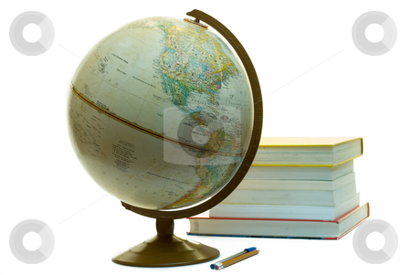 School Supplies stock photo, Assorted school supplies for a college student, including a globe, some text books and a pen by Richard Nelson