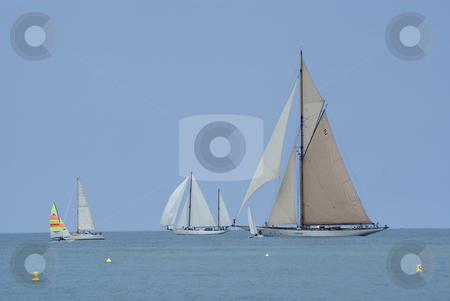 Regatta in Antibes stock photo, Sailing boats during a regatta (