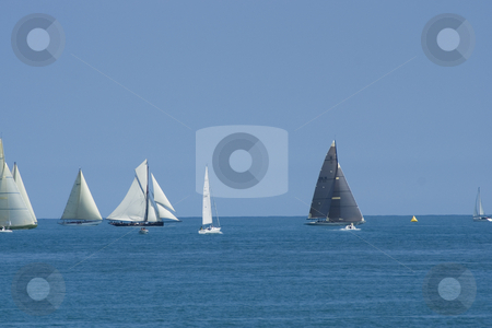 Regatta in Antibes stock photo, Sailing boats during a regatta (