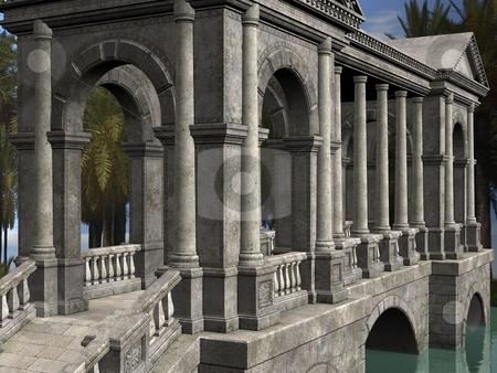 Fantasy Bridge stock photo, 3D Render of an Fantasy Bridge by Andreas Meyer