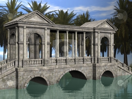 Fantasy Bridge stock photo, 3D Render of an Fantasy Bridge by Andreas Meyer