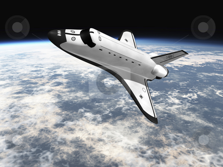 Space shuttle  stock photo, Space Shuttle leaving earth 3d render going left by John Teeter