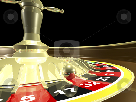 Roulette  stock photo, Roulett table side view close up 3D render by John Teeter
