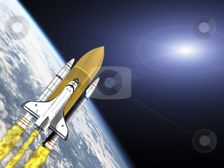 Space Shuttle stock photo, Shuttle leaving earth 3d render with galaxy flare by John Teeter