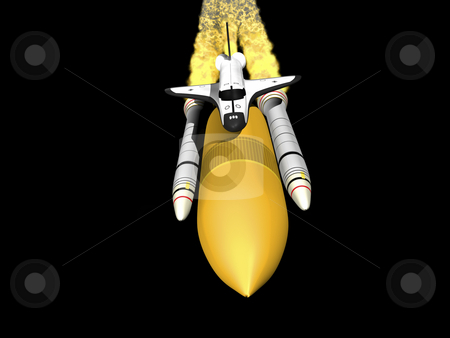 Space shuttle stock photo, Space shuttle 3d render on black background front view by John Teeter