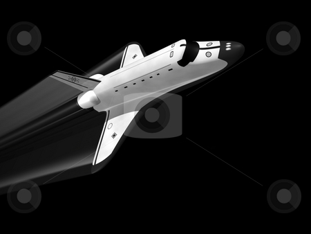 Space shuttle  stock photo, Space shuttle on black background with jet stream by John Teeter