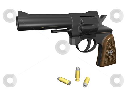Handgun stock photo, Handgun facing out with ammo 3d render by John Teeter
