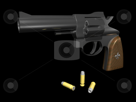 Hand gun stock photo, Hand gun with bullets on black background 3d render by John Teeter