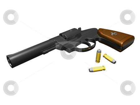 Hand Gun  stock photo, Hand Gun on white background with bullets 3D render by John Teeter