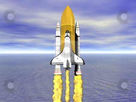Space shuttle stock photo, Shuttle leaving earth 3d render with ocean and horizon by John Teeter