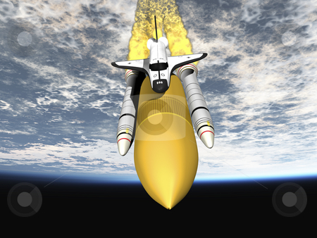 Space shuttle stock photo, Shuttle leaving earth 3d render - front view. by John Teeter
