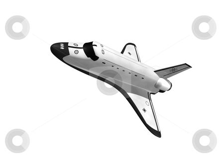 Space shuttle  stock photo, Space shuttle flying left on white background by John Teeter