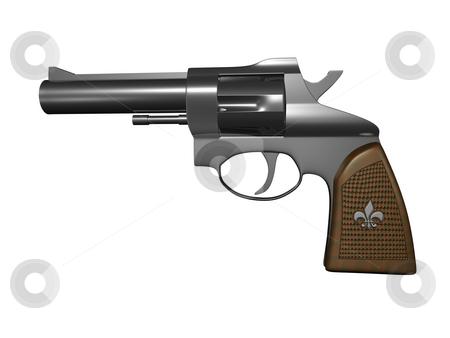 Gun stock photo, Hand gun side view on white background 3d render by John Teeter