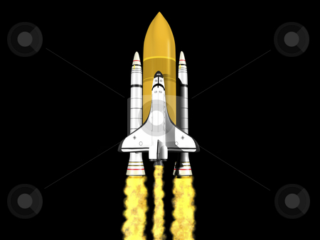 Space shuttle launching stock photo, Space shuttle launching on black background with fire by John Teeter