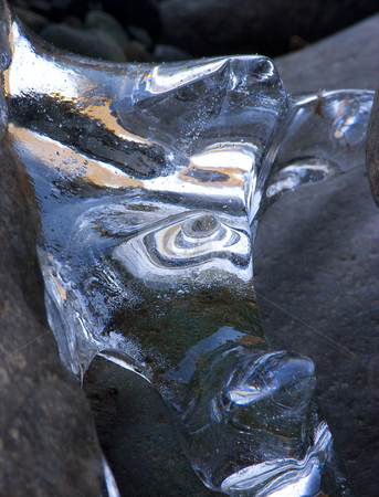 Ice Abstraction stock photo, A bit of ice along the Naches River on a cold day. I was struck by how much this resembled the head of a horse to me. by Mike Dawson