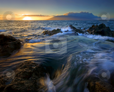 Overwhelmed by the Sea stock photo, Lava Rock nearly overcome by the rising tides off the Southern Shores of Maui. Hawaii by Mike Dawson