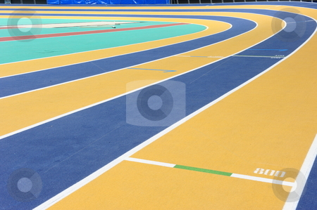 Indoor athletics track stock photo, An international indoor athletics track in Doha, Qatar. by Nicolaas Traut