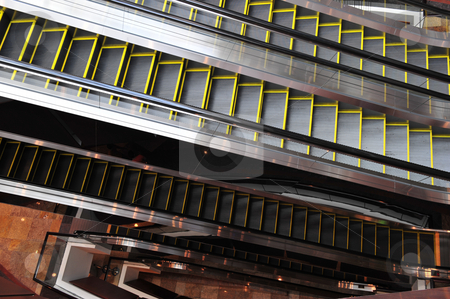 Layers of escalators stock photo, Multiple layers of escalators in a shopping center. by Nicolaas Traut
