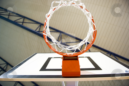 Basketball hoop stock photo, A basketball hoop in an International sport venue. by Nicolaas Traut