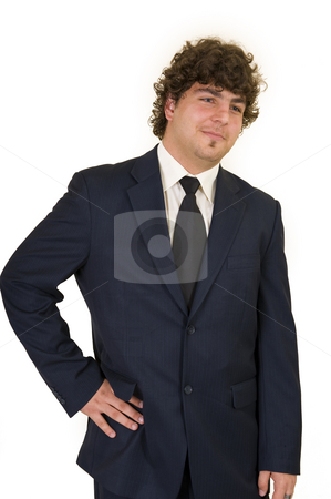 Handsome young business man stock photo, Handsome young business man isolated on white. by Nicolaas Traut