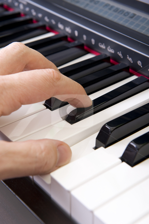Hands on piano stock photo, Close-up of hands playing the piano. by Nicolaas Traut