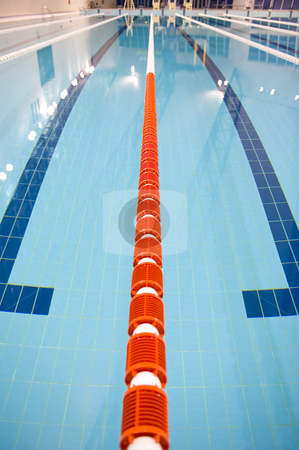 Olympic swimming pool stock photo, Olympic indoor swimming pool at an International sports venue in Doha, Qatar. by Nicolaas Traut