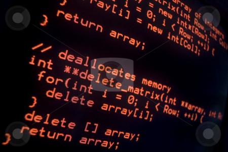 Computer programing source code stock photo, Computer programing source code in red on a black screen by Khoj Badami