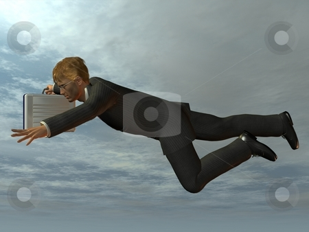 Businessman flying like superman stock photo, 3D Render of an Businessman by Andreas Meyer