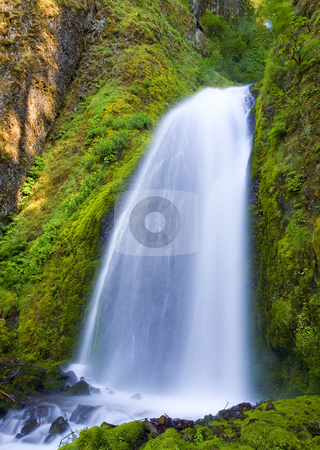 Wahkeena stock photo, Wahkeena Falls in the Columbia River Gorge of Oregon by Mike Dawson