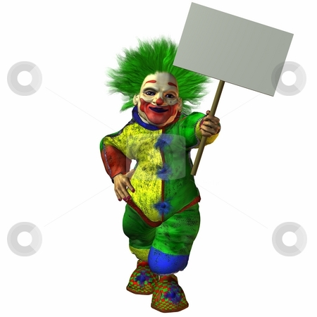 Clown with Sign stock photo, 3D Render of an Clown with Sign by Andreas Meyer