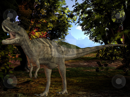 Ceratosaurus nasicornis-3D Dinosaur stock photo, 3D Render of an Ceratosaurus nasicornis-3D Dinosaur by Andreas Meyer