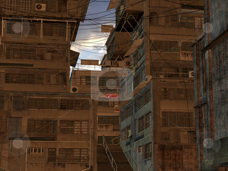 Chinese City stock photo, 3D Render of an Chinese City by Andreas Meyer