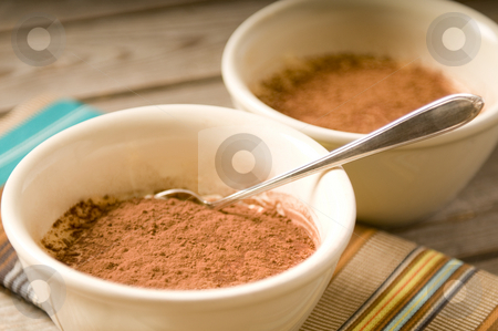 Tiramisu with spoon stock photo, Tiramisu with a spoon on a wooden table with a colorful placemat by Claudia Van Dijk