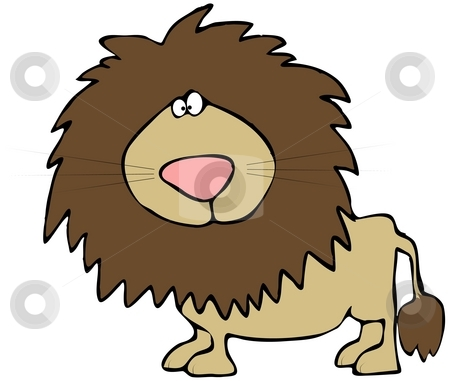 Cartoon Lion stock photo, This illustration depicts a comical male lion. by Dennis Cox