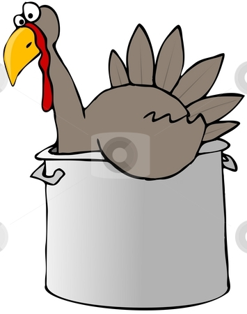 Turkey In A Pot stock photo, This illustration depicts a Tom turkey in a cooking pot. by Dennis Cox