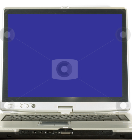 Laptop with Blue screen stock photo, Laptop with blank blue screen ready for copy by Robert Cabrera