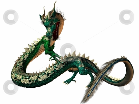 Eastern Dragon stock photo, 3D Render of an Eastern Dragon by Andreas Meyer