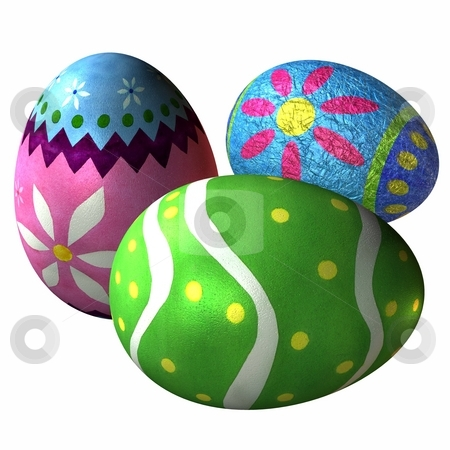 Easter Eggs stock photo, 3D Render of Easter Eggs by Andreas Meyer