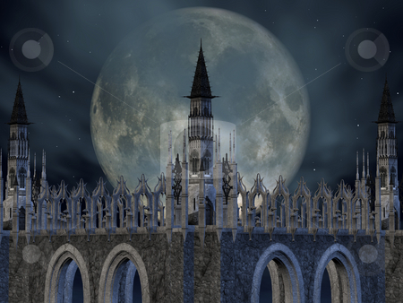 Fantasy Castle stock photo, 3D Render of an Fantasy Castle by Andreas Meyer