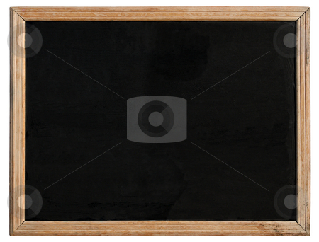 An old blackboard with a wooden frame. stock photo, An old blackboard with a wooden frame, isolated on a white background. by Stephen Rees