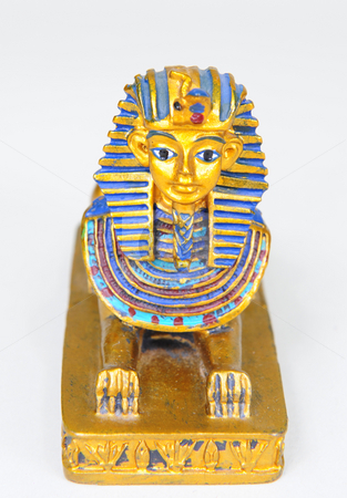 The Sphinx stock photo, A detailed replica of the Sphinx painted in the original colors. by Nicolaas Traut