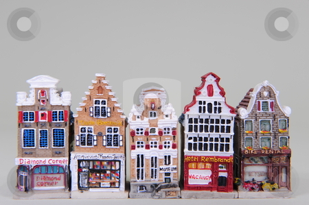 Replica Dutch Gables stock photo, Miniature replicas of Dutch houses showing the different gables. by Nicolaas Traut