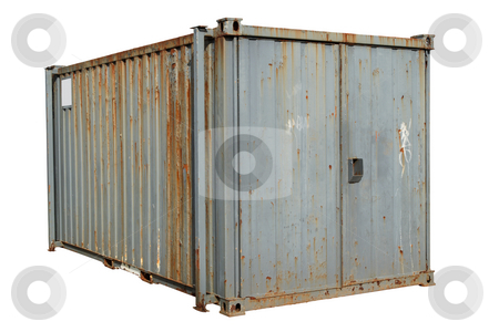 A freight container, isolated on a white background. stock photo, A freight container, isolated on a white background. by Stephen Rees