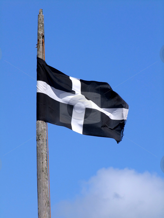 The Cornish black and white cross flag of St. Piran. stock photo, The Cornish black and white cross flag of St. Piran. by Stephen Rees