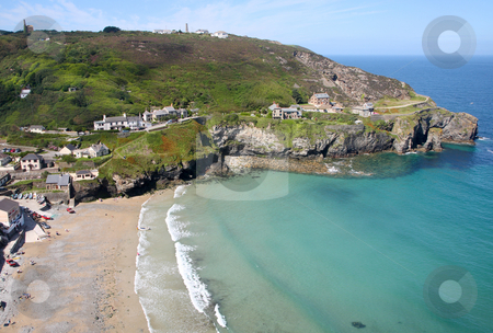 An aerial view of Trevaunance Cove, St. Agnes, Cornwall. stock photo, An aerial view of Trevaunance Cove, St. Agnes, Cornwall. by Stephen Rees