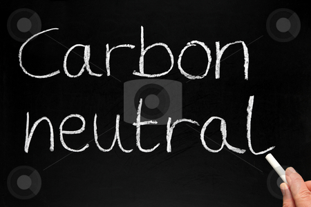 Writing Carbon neutral on a blackboard. stock photo, Writing Carbon neutral on a blackboard. by Stephen Rees