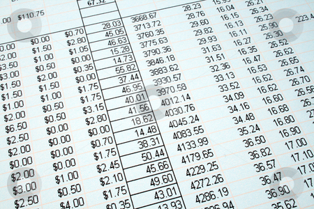 Looking at the accounts on a printed spreadsheet. stock photo, Looking at the accounts on a printed spreadsheet. by Stephen Rees