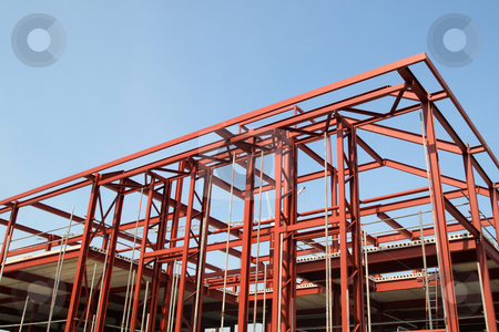 Red steel building construction framework. stock photo, Red steel building construction framework. by Stephen Rees