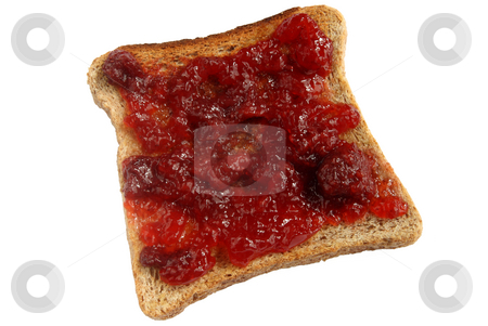 Strawberry jam spread on toast. stock photo, Strawberry jam spread on toast. by Stephen Rees